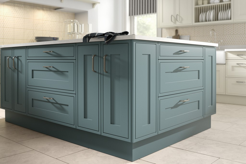Edwardian Painted Steel Blue Kitchen