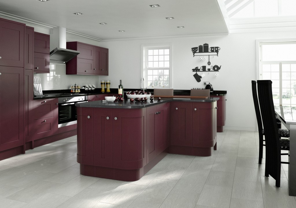 Elegant Painted Aubergine Kitchen