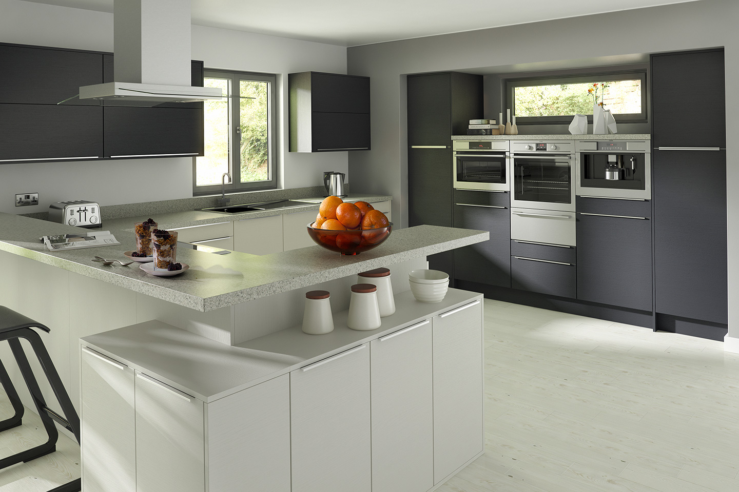 Embossed Anthracite Light Grey Kitchen