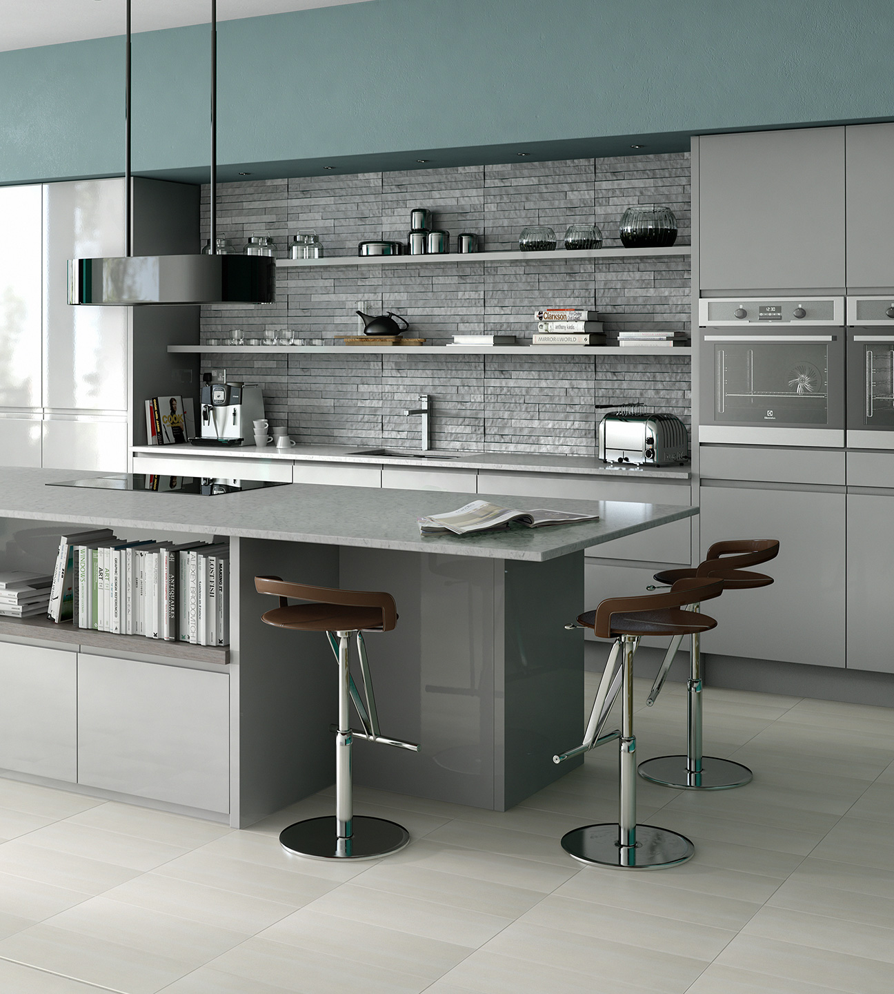contemporary in line grey kitchen