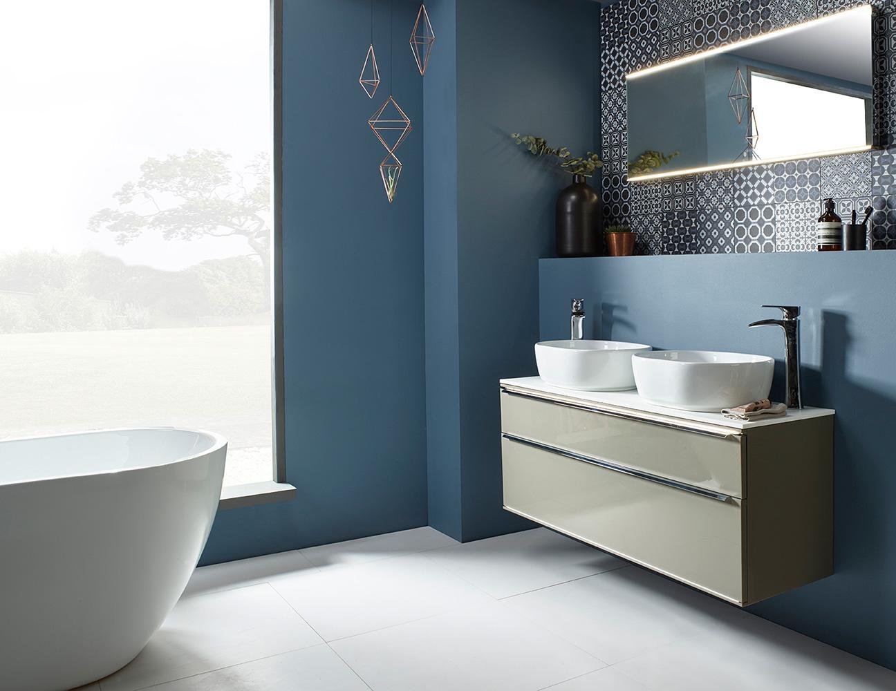 modern dark blue bathroom glass
