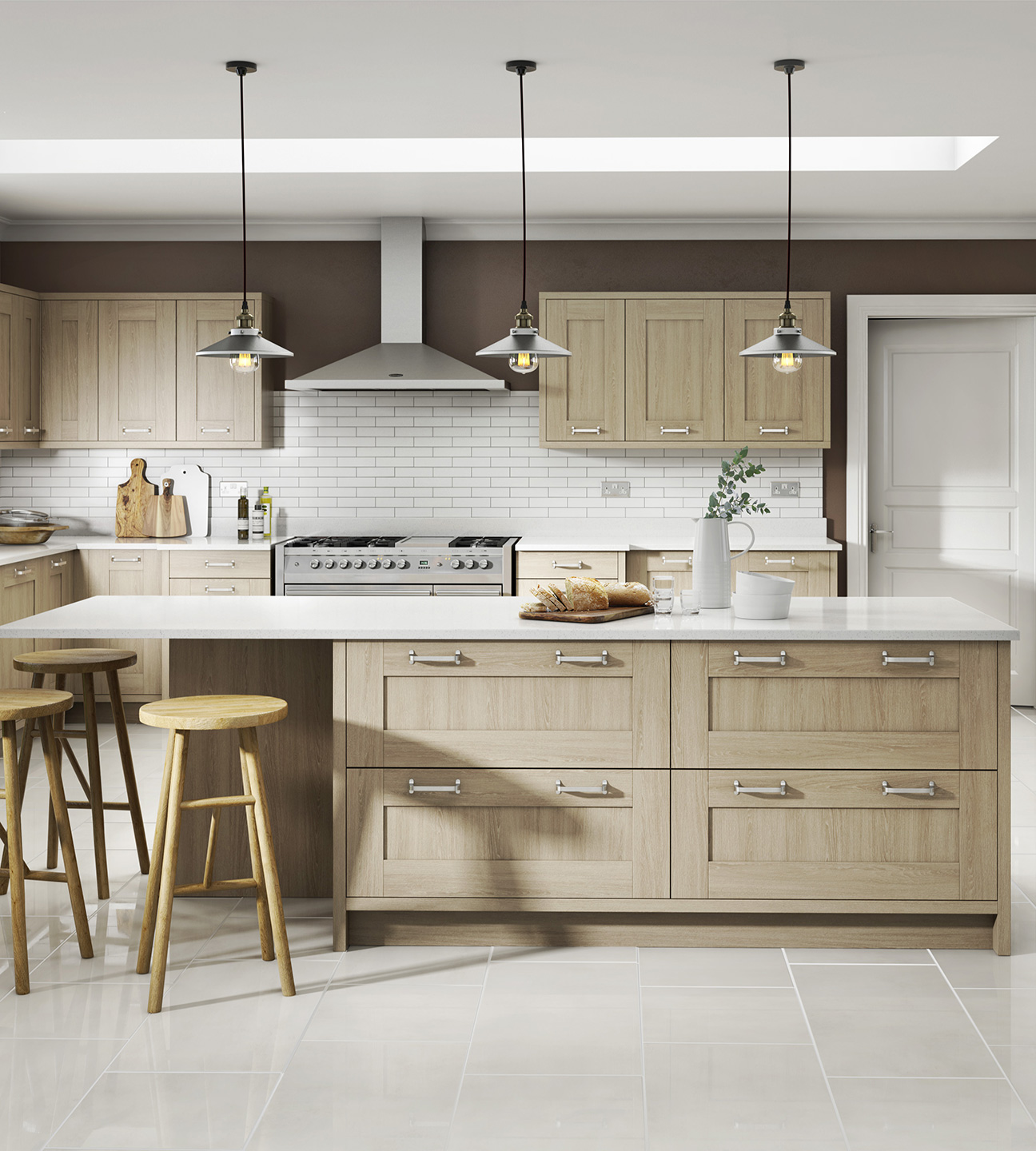 modern shaker sand oak kitchen
