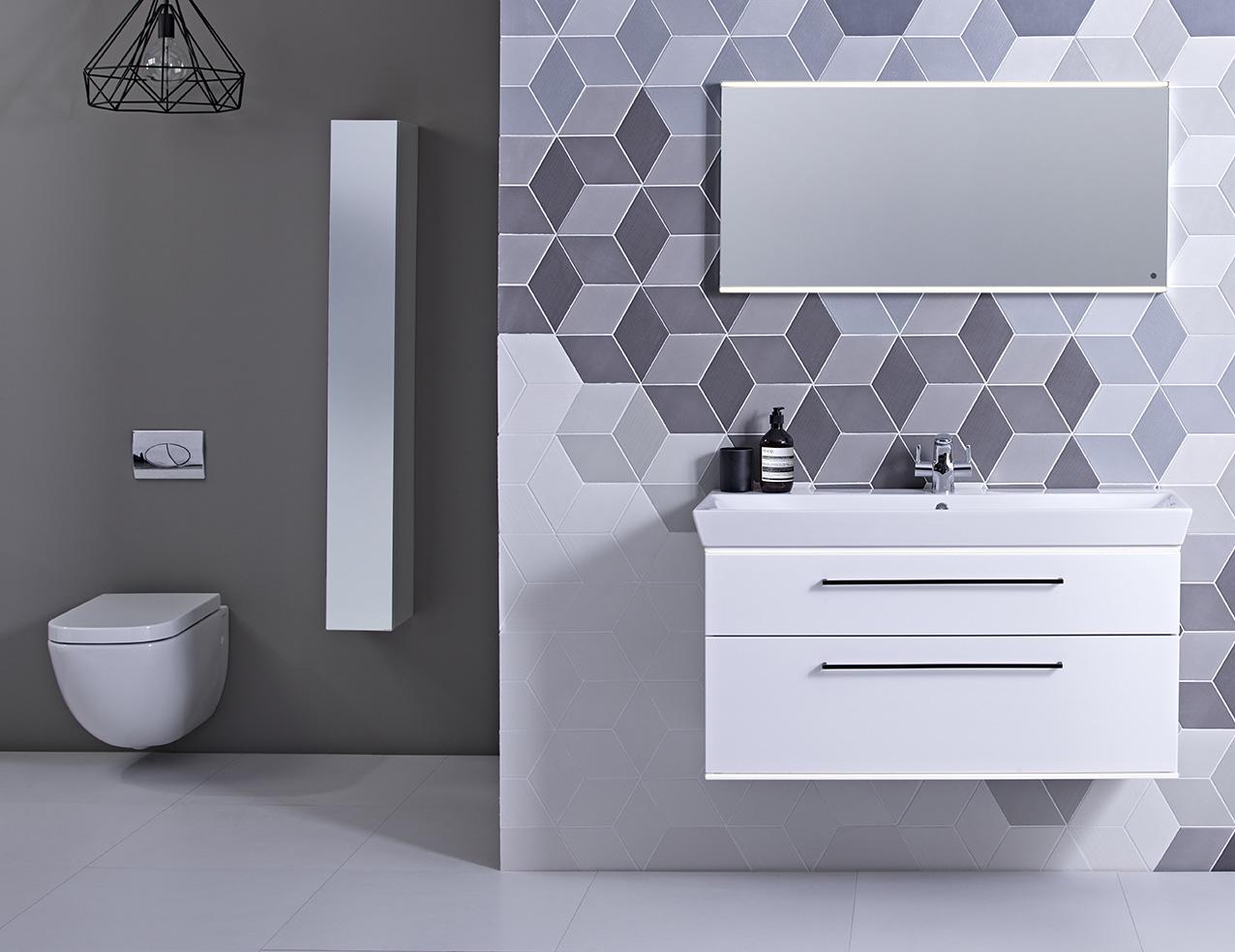 modern tiled bathroom grey