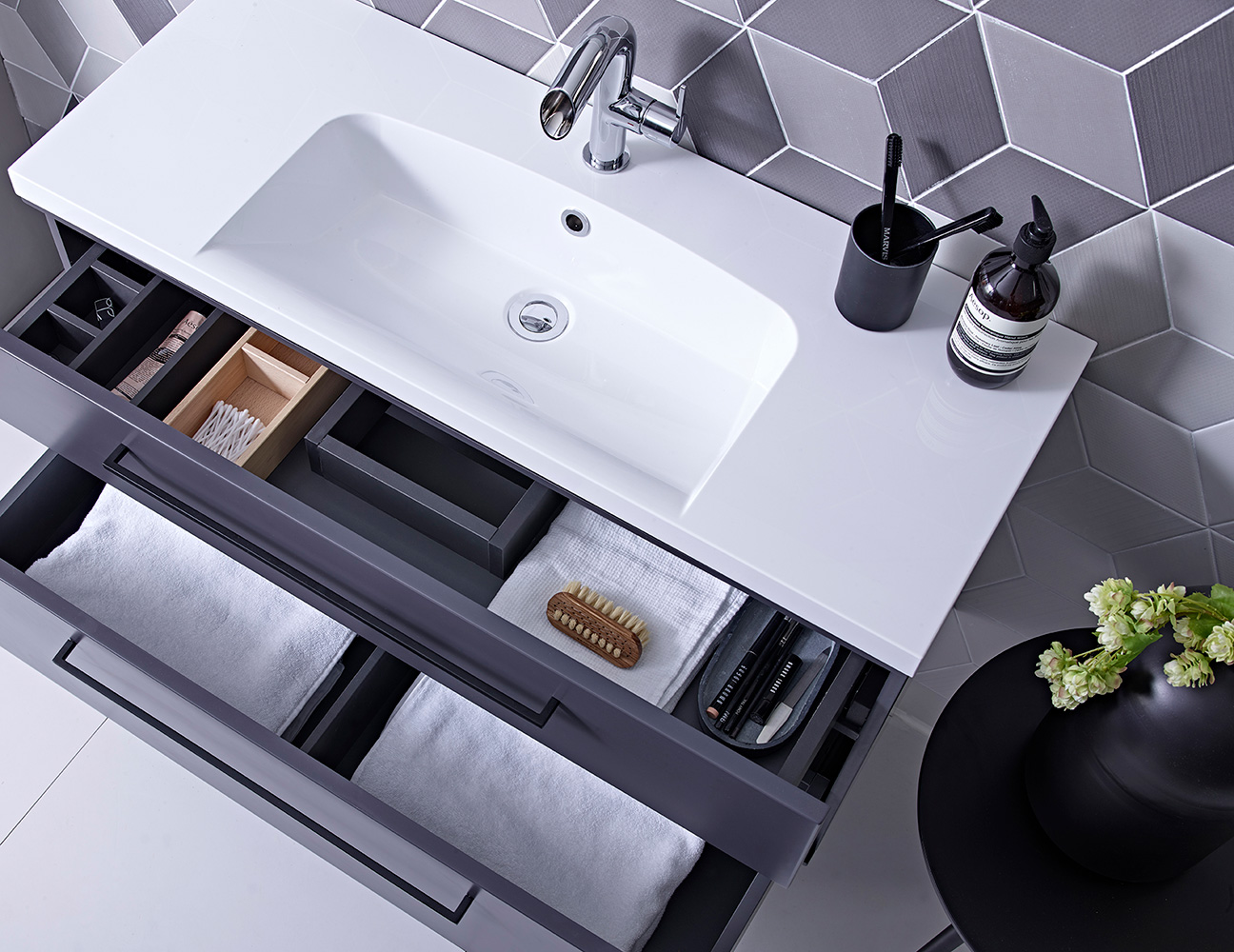 scheme matt carbon drawers bathroom