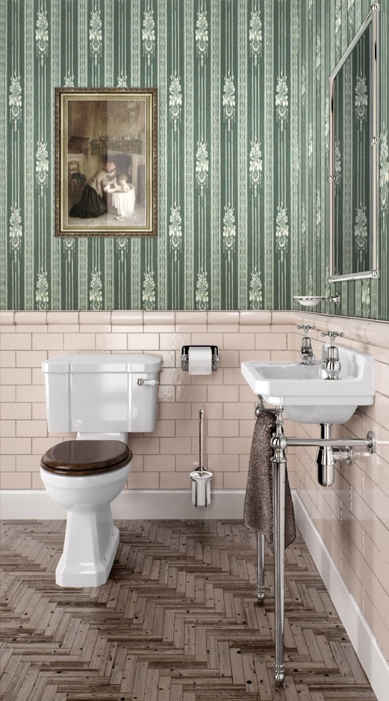 traditional tiled bathroom ceramic toilet