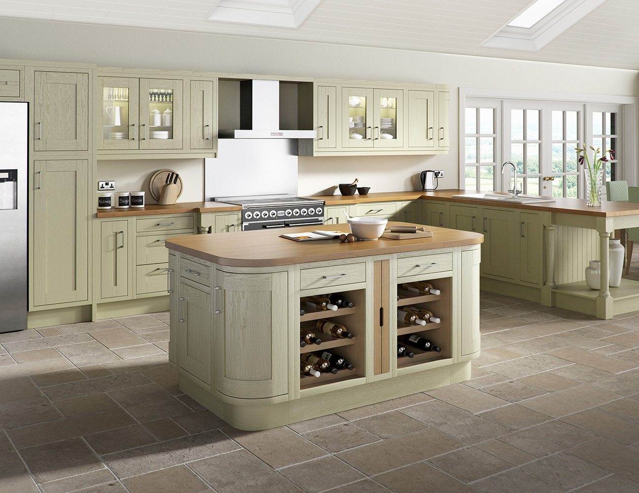 wood framed painted green kitchen